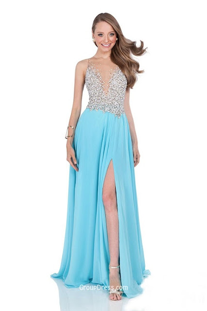 chiffon brilliant long prom dress