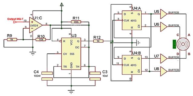 Implementasi Sensor Gas MQ-7 dengan motor stepper
