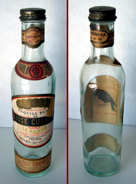 Jose Cuervo Tequila bottle 1930s, front-back