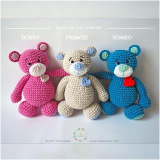 patron amigurumis Ositos con dulce corazón: Donna, Francis, y Romeo