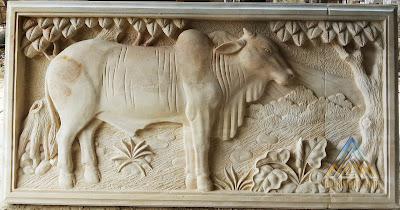 relief sapi batu alam paras jogja