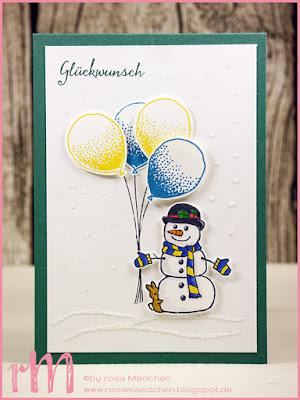 Stampin' Up! rosa Mädchen Kulmbach: Geburtstagskarte mit Schneemann aus Seasonal Chums und Partyballons