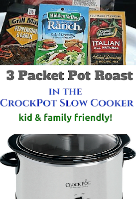 This is the easiest pot roast recipe, ever. You can use the packets shown or mix it up and use your own favorite packets! Great family and kid dinner.
