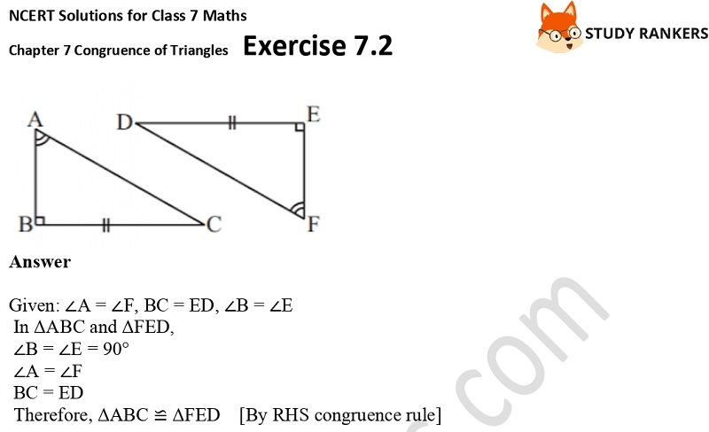 NCERT Solutions for Class 7 Maths Ch 7 Congruence of Triangles Exercise 7.2 7