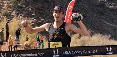 Adam Peterman winning USATF Trail Marathon