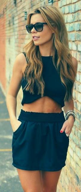 Black Crop top with skirt