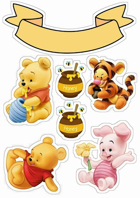 Baby Winnie the Pooh: Free Printable Cake Toppers.