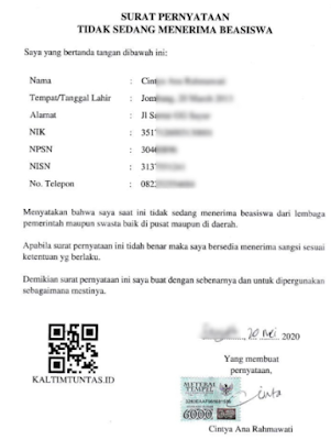 Surat Keterangan Tidak Sedang Menerima Beasiswa (Format PDF)