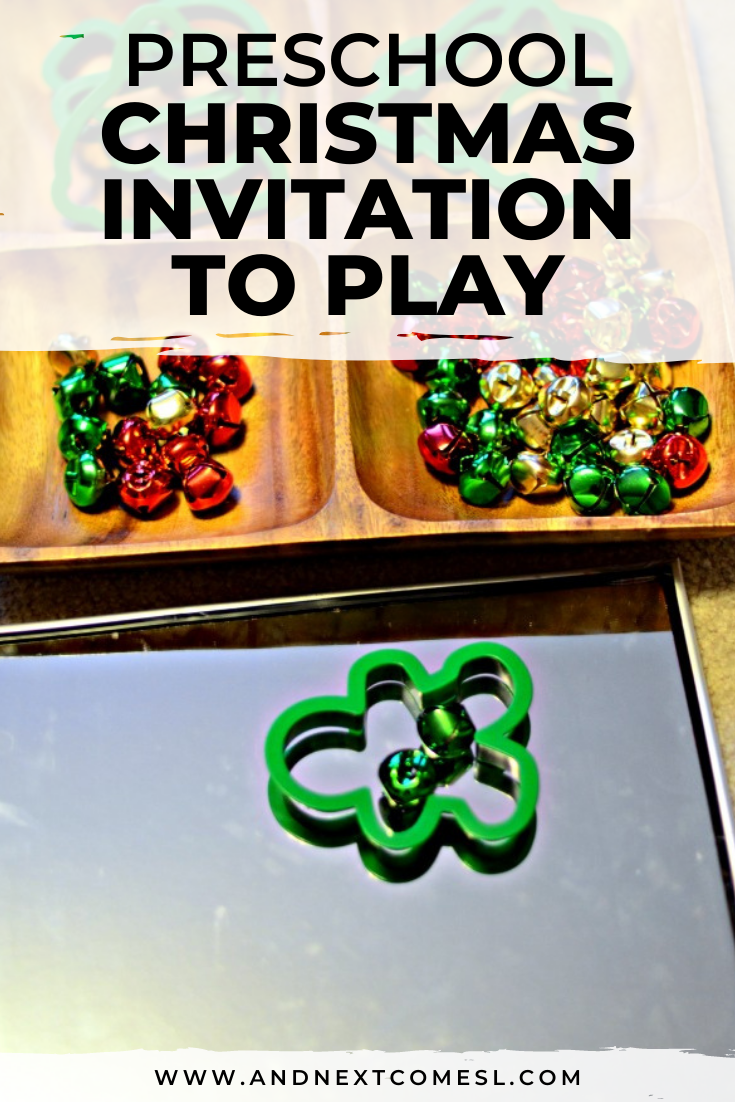 Christmas invitation to play for toddlers and preschoolers using jingle bells and mirrors