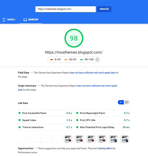 MosthemeMini pagespeed
