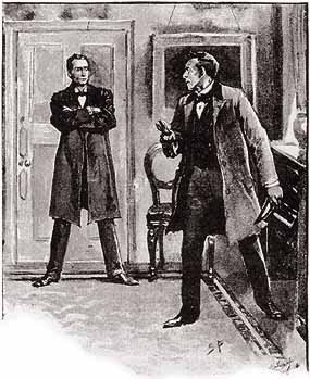 Sherlock Holmes confronts James Windibank at 221 B Baker Street in Sidney Paget's illustration for A Case of Identity