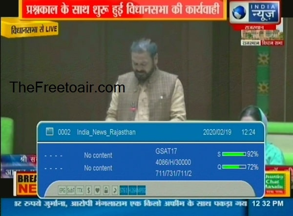 India News Rajasthan FTA channel available in GSAT17