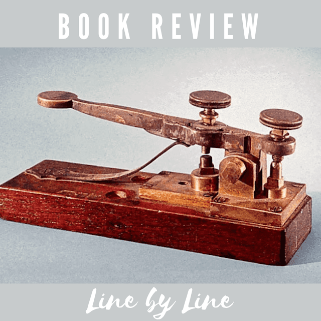 Text: Book Review; Line by Line; image of telegraph