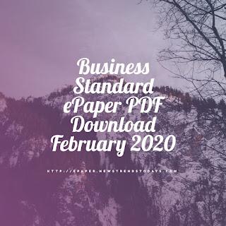 Business Standard ePaper PDF Download February 2020