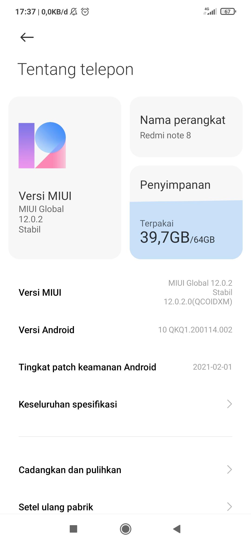 MIUI Versi POCO X3 Pro Indonesia Stable V12.5.1.0