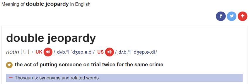 Arti Double Jeopardy Menurut Kamus