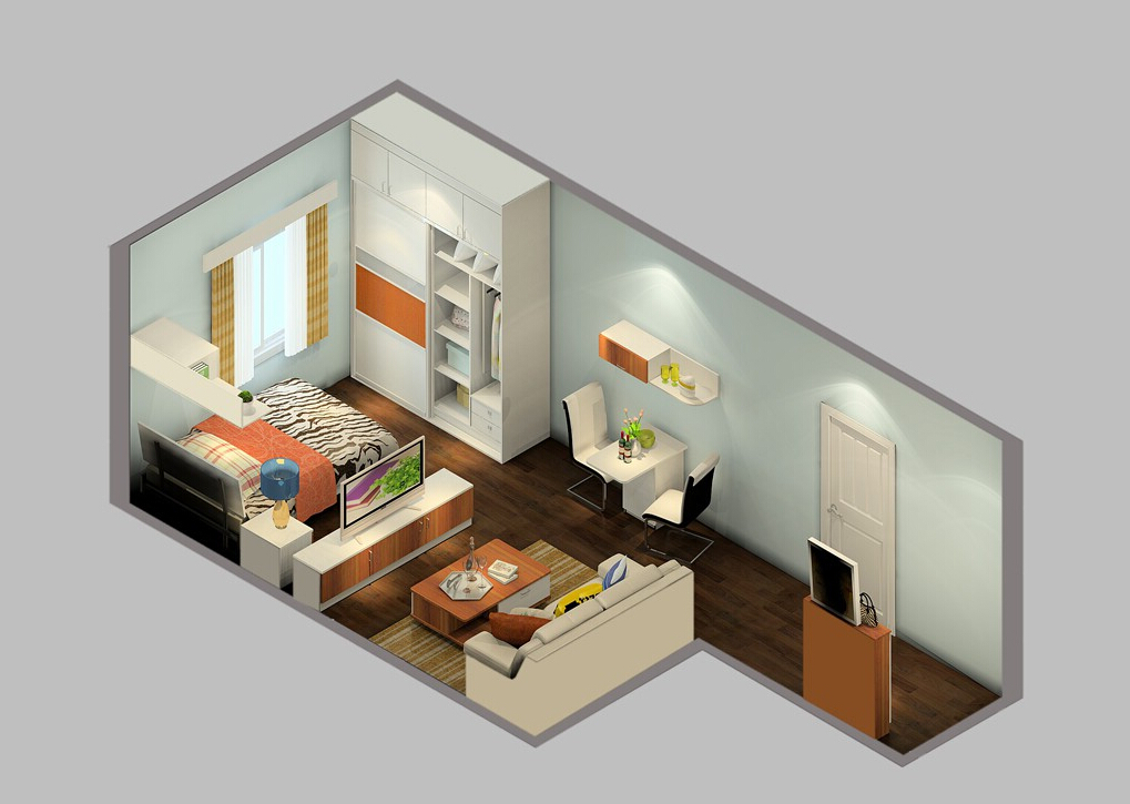Single-apartments-interior-design-sky-view 35 Sky View 4D American House Plan Styles Interior