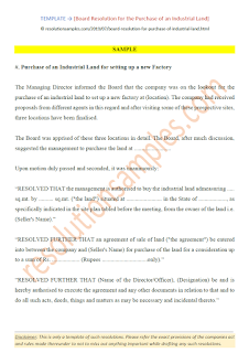 draft board resolution for purchase of land under companies act 2013