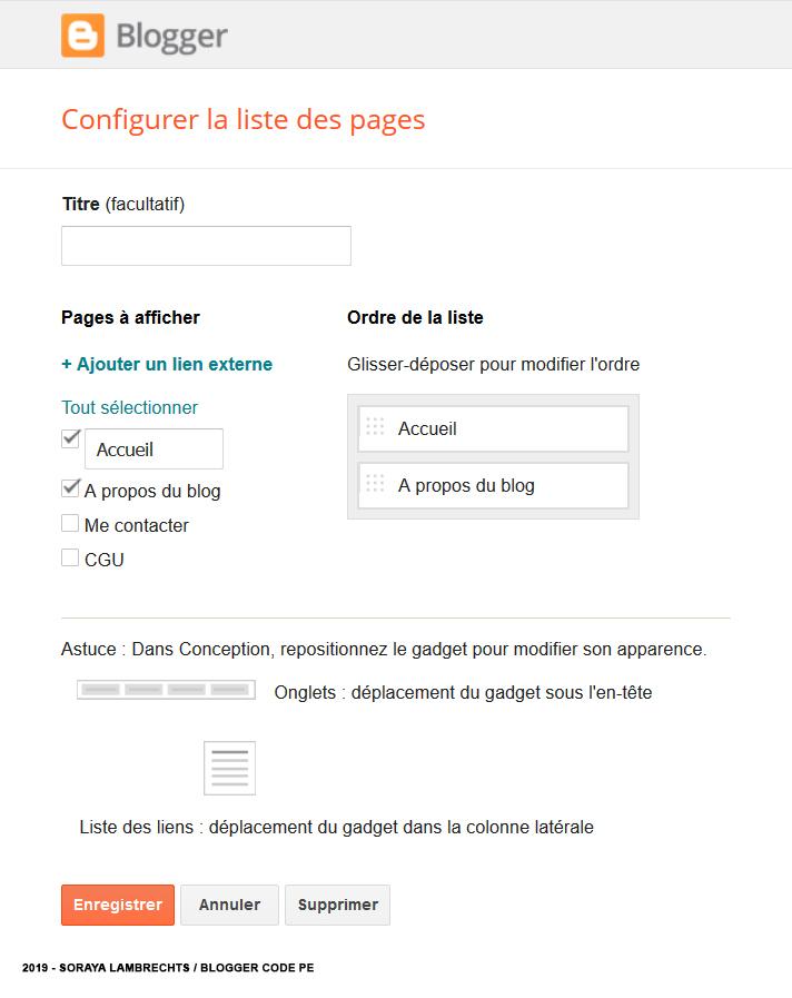 Le panneau de configuration du gadget PageList