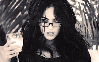 Megan Fox with Glasses and Wine Glass Grey Scale Photo HD Wallpaper