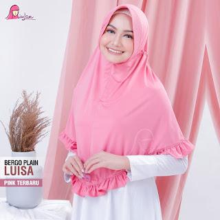 jilbab bergo plain luisa miulan pink terbaru