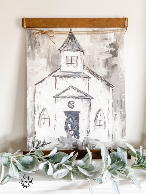 Impasto painting church canvas