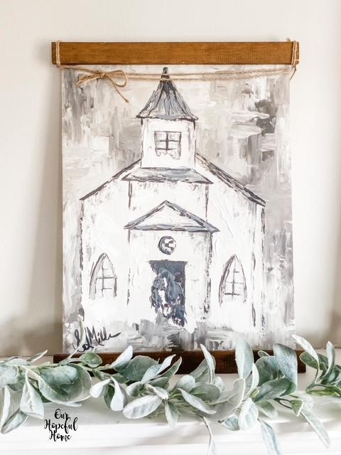 Impasto painting church canvas