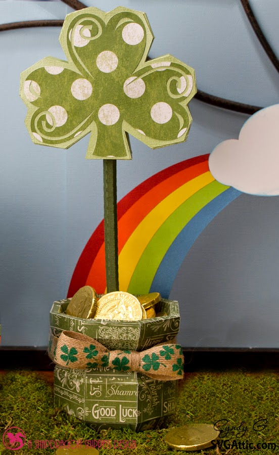 3d paper pot of gold and rainbow