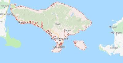 Peta Provinsi Bali, Jumlah dan Daftar Nama Daerah Kota / Kabupaten di Provinsi Bali