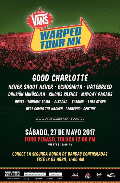 Bandas para el Vans Warped Tour Mx