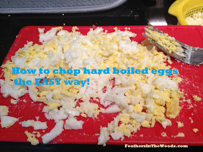 chop hard boiled eggs
