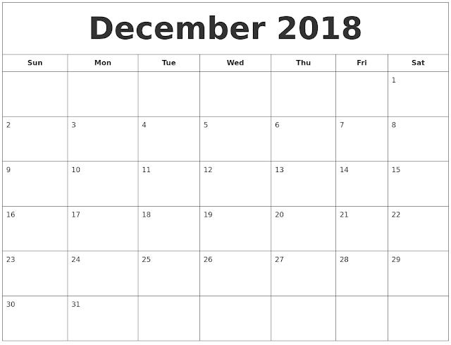 December 2018 Printable Calendar, December 2018 Blank Calendar, December 2018 Calendar Printable, December 2018 Calendar Template, December 2018 Calendar PDF, December 2018 Calendar Word, December 2018 Calendar Excel