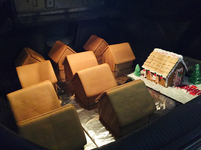 gingerbread houses in trunk of car