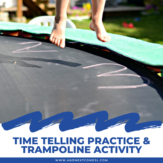Trampoline clock activity for time telling practice