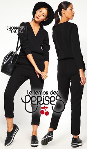 Combinaison pantalon femme noire Le temps des cerises