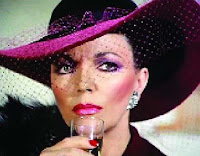 Alexis Colby Carrington pink makeup veil hat champagne