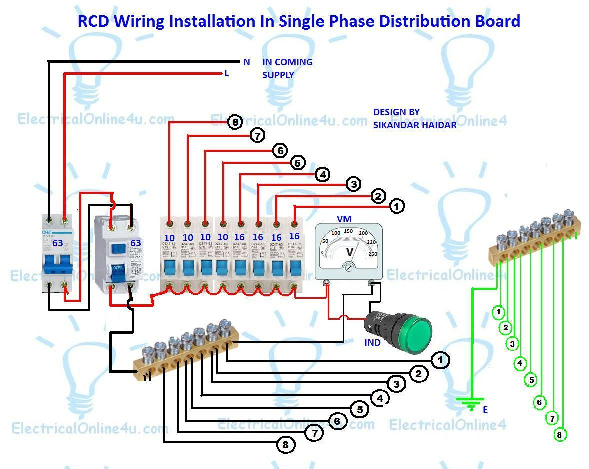 rcd wiring installation in single phase distribution board rh electricalonline4u com single phase motor wiring circuit single phase wiring circuit