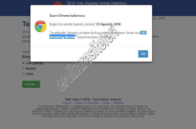 Google Chrome Anket Dolandırıcılığına Dikkat !