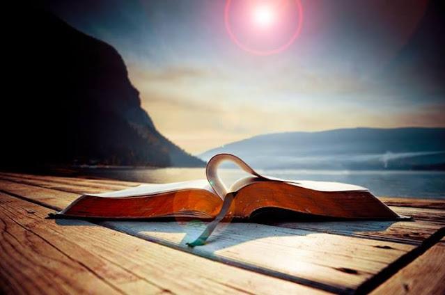 Libro abierto en una playa