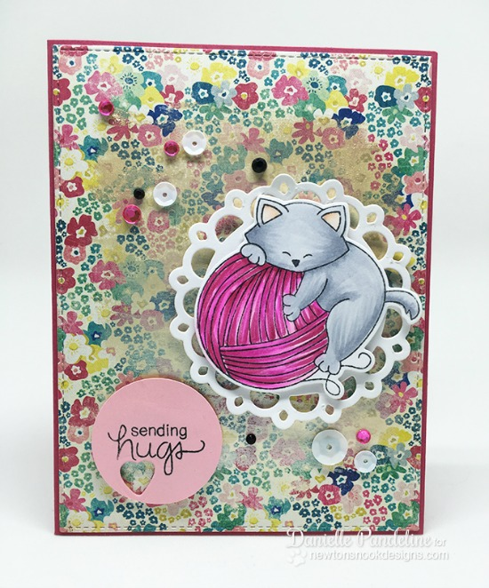 Cat and Yarn Card by Danielle Paneline  | Newton Unwinds Stamp Set & Die Set by Newton's Nook Designs #newtonsnook