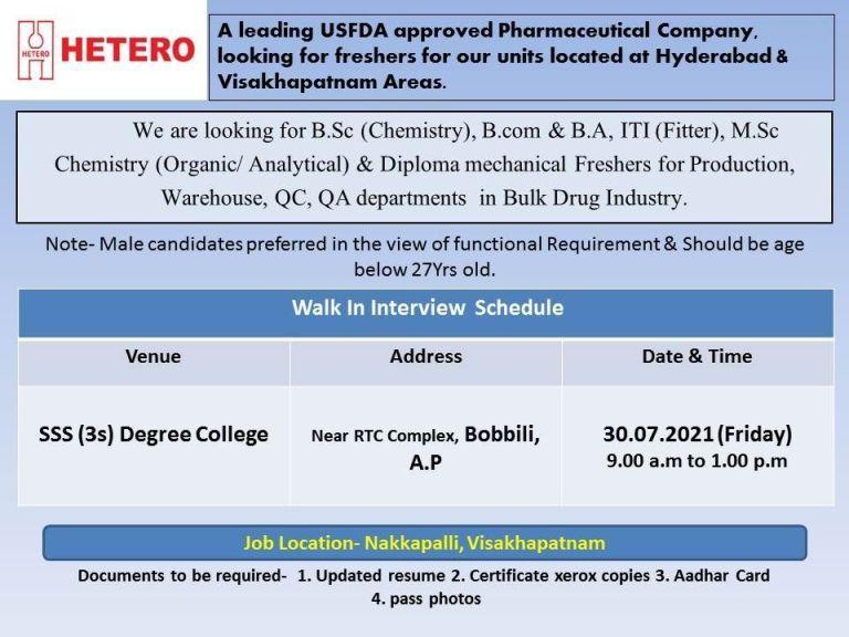 Walk in interviews for Freshers ITI, Diploma, BA, B.Com, BSc, MSc, B. Pharmacy Candidates For Production/ QC/ QA/ Maintenance Departments Hetero Pharma