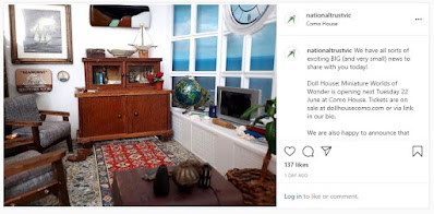 Instagram post with an image of a  miniature one-twelfth scale living room overlooking the sea and the announcement that the Doll house: Miniature world of wonder exhibition is opening on 22 JUne.