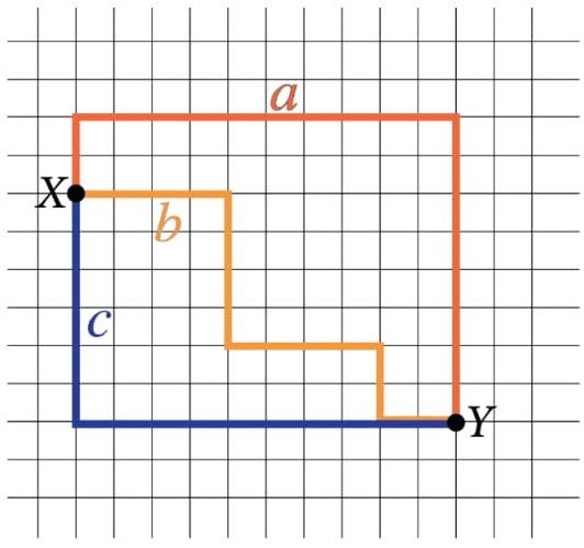 FUVEST 2021: A figura ilustra graficamente uma região de um bairro, com ruas ortogonais entre si. O ponto X indica um condomínio residencial, e o ponto Y indica a entrada de um parque.