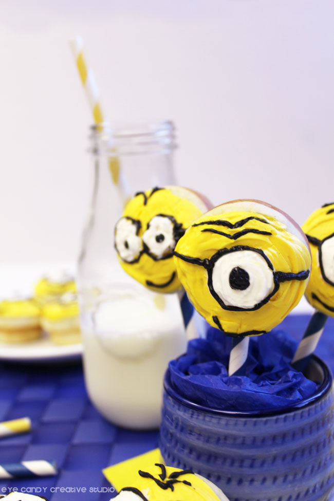 milk & donuts, yellow minions donut pops, hot to make minions donuts