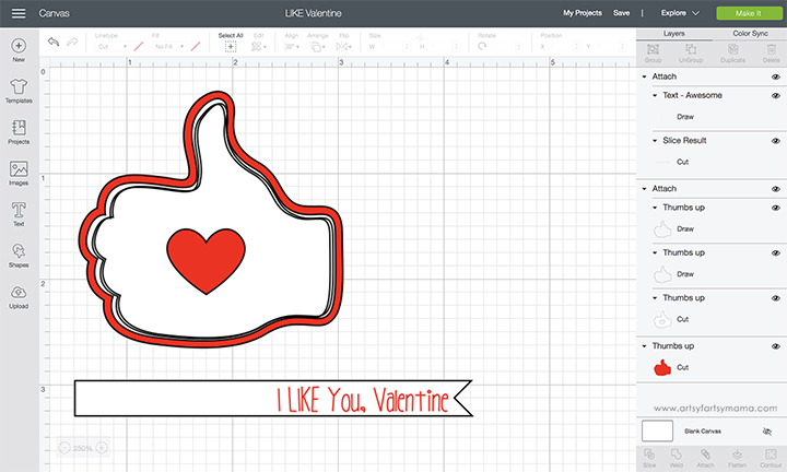 "I ""Like"" You Valentines with Cricut"