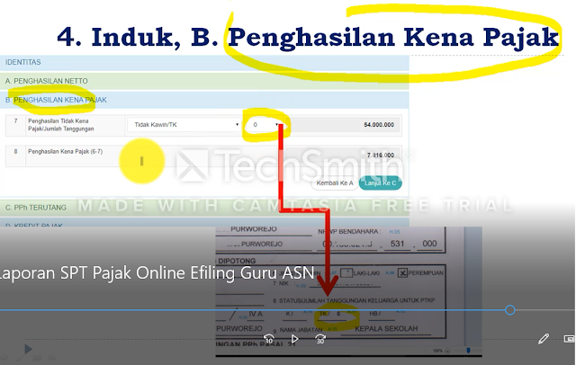 penghasilan kena pajak  spt online