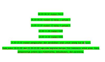 Catat! Jadwal Lengkap Belajar dari Rumah Tingkat PAUD, SD, SMP dan SMA di TVRI