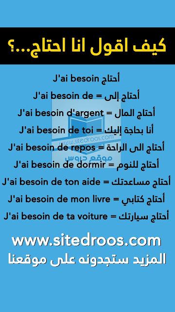 جمل وعبارات مترجمة للتعبير عن الحاجة باللغة الفرنسية