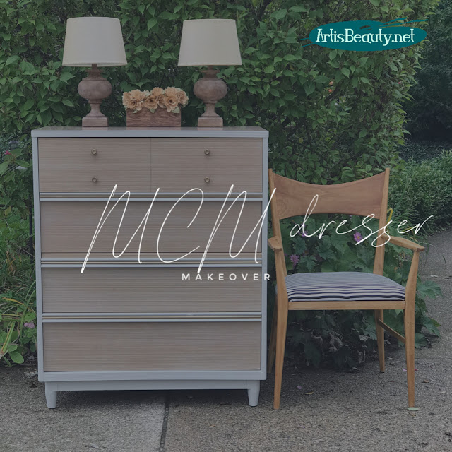 MID CENTURY MODERN DRESSER MAKEOVER IN GENERAL FINISHES REVERENT GRAY MILK PAINT DIY