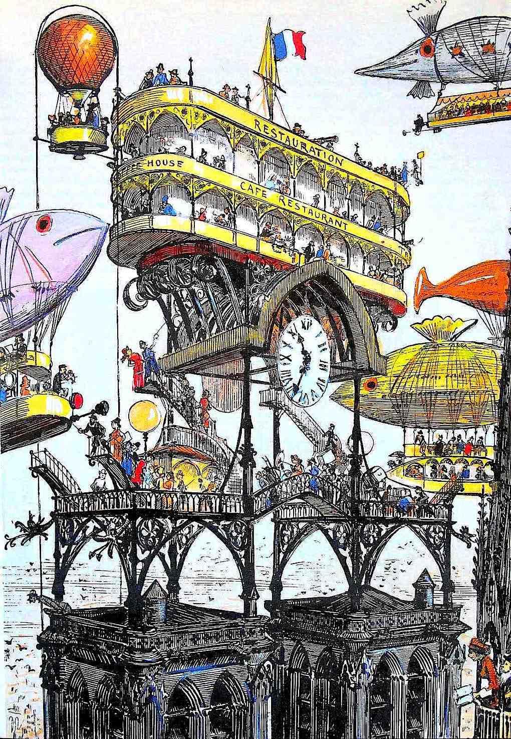 a color drawing by 1883 futurist Albert Robida, restauration